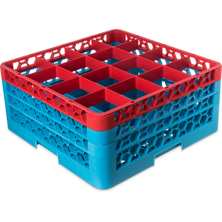 "RG16-3C410 - OptiClean™ 16-Compartment Divided Glass Rack with 3 Extenders 8.72"" - Red-Carlisle Blue"