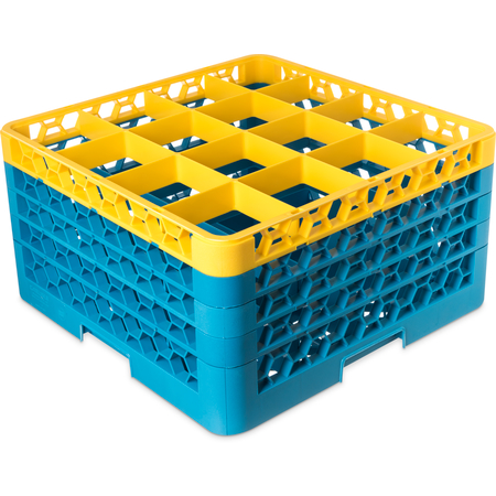 "RG16-4C411 - OptiClean™ 16-Compartment Divided Glass Rack with 4 Extenders 10.3"" - Yellow-Carlisle Blue"