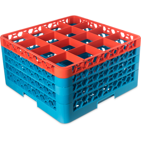 "RG16-4C412 - OptiClean™ 16-Compartment Divided Glass Rack with 4 Extenders 10.3"" - Orange-Carlisle Blue"