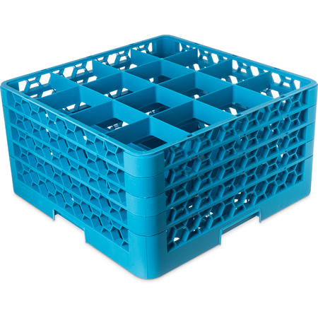 "RG16-414 - OptiClean™ 16-Compartment Divided Glass Rack with 4 Extenders 10.3"" - Carlisle Blue"