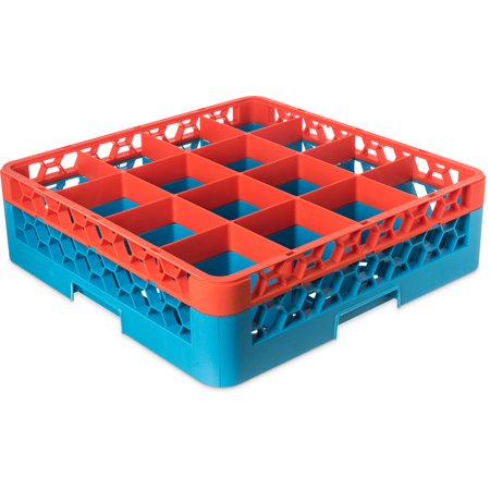 "RG16-1C412 - OptiClean™ 16-Compartment Divided Glass Rack with 1 Extender 5.56"" - Orange-Carlisle Blue"
