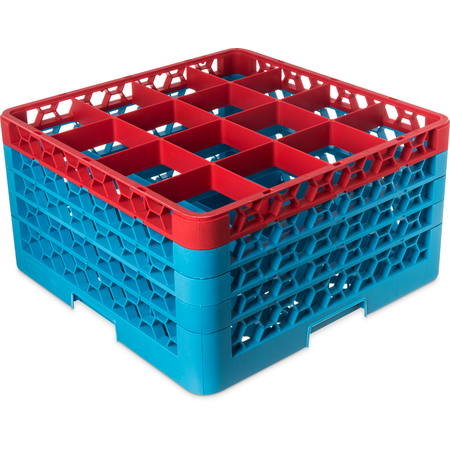 "RG16-4C410 - OptiClean™ 16-Compartment Divided Glass Rack with 4 Extenders 10.3"" - Red-Carlisle Blue"