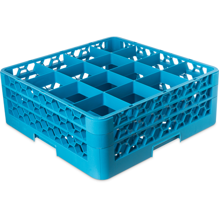 "RG16-214 - OptiClean™ 16-Compartment Divided Glass Rack with 2 Extenders 7.12"" - Carlisle Blue"