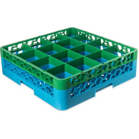 """RG16-1C413 - OptiClean™ 16-Compartment Divided Glass Rack with 1 Extender 5.56"""" - Green-Carlisle Blue"""