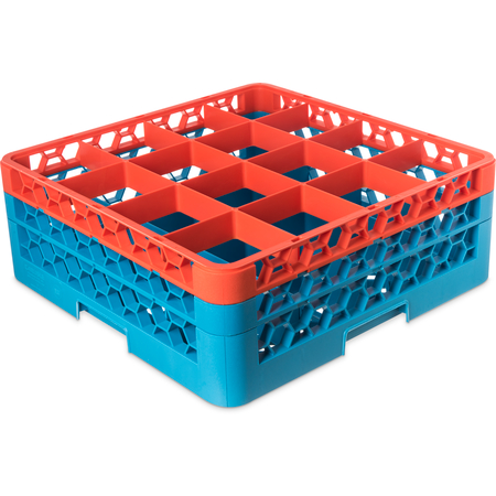 """RG16-2C412 - OptiClean™ 16-Compartment Divided Glass Rack with 2 Extenders 7.12"""" - Orange-Carlisle Blue"""