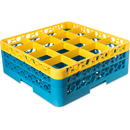 """RG16-2C411 - OptiClean™ 16-Compartment Divided Glass Rack with 2 Extenders 7.12"""" - Yellow-Carlisle Blue"""