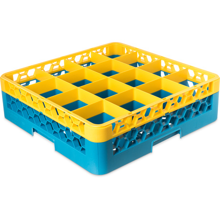"RG16-1C411 - OptiClean™ 16-Compartment Divided Glass Rack with 1 Extender 5.56"" - Yellow-Carlisle Blue"