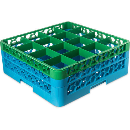 """RG16-2C413 - OptiClean™ 16-Compartment Divided Glass Rack with 2 Extenders 7.12"""" - Green-Carlisle Blue"""