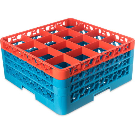 "RG16-3C412 - OptiClean™ 16-Compartment Divided Glass Rack with 3 Extenders 8.72"" - Orange-Carlisle Blue"