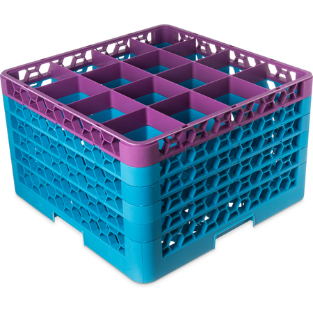 """RG16-5C414 - OptiClean™ 16 Compartment Glass Rack with 5 Extenders 11.9"""" - Lavender-Carlisle Blue"""