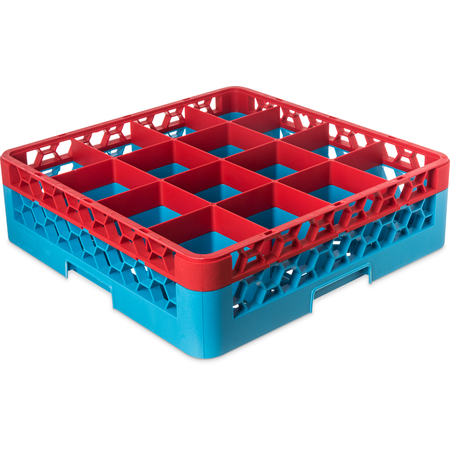 "RG16-1C410 - OptiClean™ 16-Compartment Divided Glass Rack with 1 Extender 5.56"" - Red-Carlisle Blue"