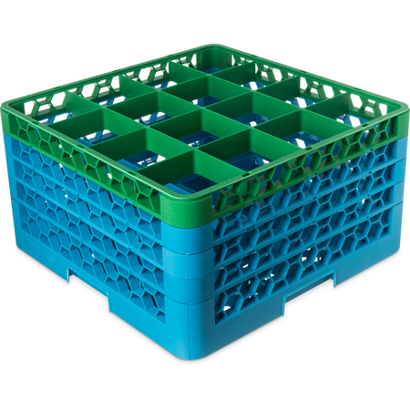 "RG16-4C413 - OptiClean™ 16-Compartment Divided Glass Rack with 4 Extenders 10.3"" - Green-Carlisle Blue"