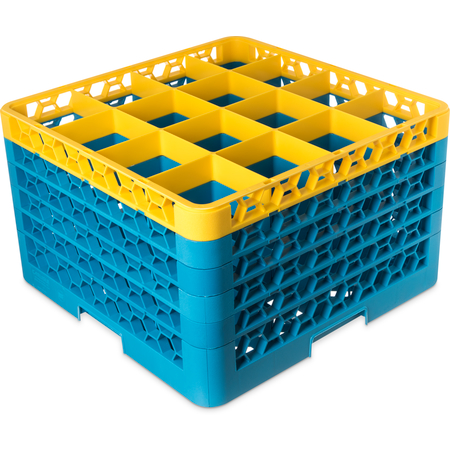 """RG16-5C411 - OptiClean™ 16-Compartment Divided Glass Rack with 5 Extenders 11.9"""" - Yellow-Carlisle Blue"""