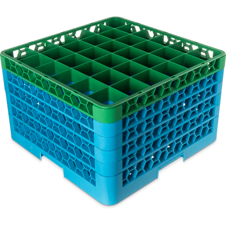 "RG36-5C413 - OptiClean™ 36-Compartment Divided Glass Rack with 5 Extenders 11.9"" - Green-Carlisle Blue"