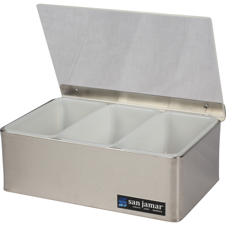 B4093L - GARNISH TRAY, 3 PT W/ PLEXI LID