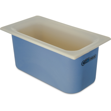 "CM1102C1402 - Coldmaster® CoolCheck 6"" D Third-size Food Pan 4 qt  - White/Blue"