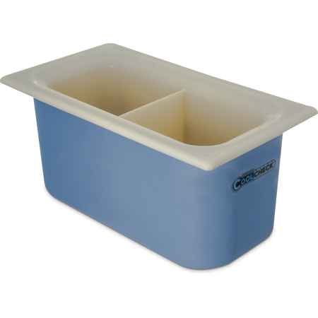 """CM1103C1402 - Coldmaster® CoolCheck 6"""" D Third-size Divided Food Pan 3.4 qt - White/Blue"""