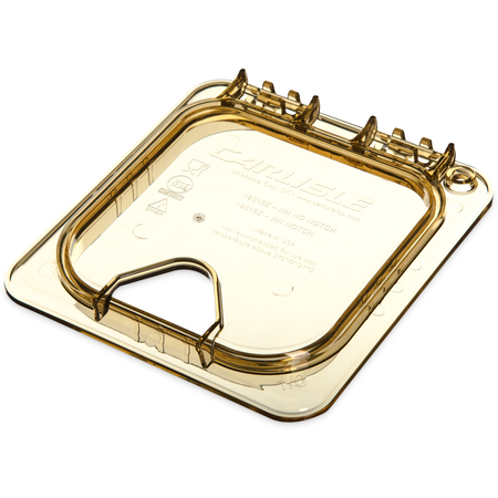 10519Z13 - StorPlus™ High Heat EZ Access Hinged Notched Universal Food Pan Lid 1/6 Size - Amber