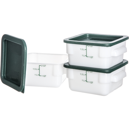 10730-302 - StorPlus™ 3-Pack Polyethylene Square Containers & Lids 2 qt - White