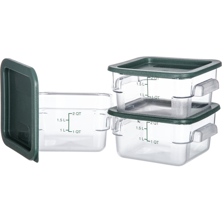 10720-307 - StorPlus™ 3-Pack Polycarbonate Square Containers & Lids 2 qt - Clear