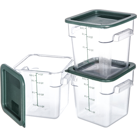 10721-307 - StorPlus™ 3-Pack Polycarbonate Square Containers & Lids 4 qt - Clear