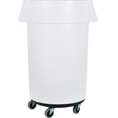 34113202 - Bronco™ Round Waste Bin Trash Container & Dolly 32 Gallon - White
