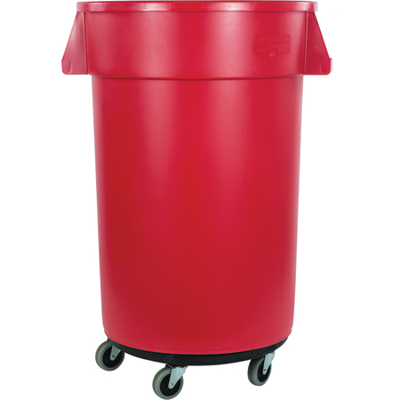34113205 - Bronco™ Round Waste Bin Trash Container & Dolly 32 Gallon - Red