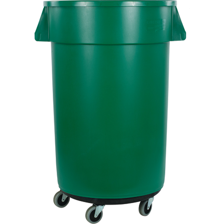 34113209 - Bronco™ Round Waste Bin Trash Container & Dolly 32 Gallon - Green