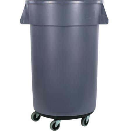 34113223 - Bronco™ Round Waste Bin Trash Container & Dolly 32 Gallon - Gray