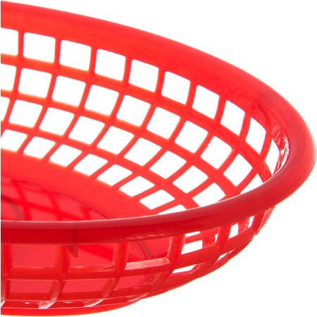 "033305 - Bread And Bun Basket Oval Basket 9-1/4"" x 6"" - Red"