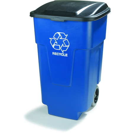 345050REC14 - Bronco™ Square RECYCLE Rolling Container with Hinged Lid 50 Gallon - Blue