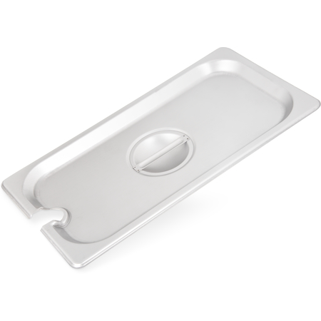 607130CS - DuraPan™ Stainless Steel Hotel Pan Slotted Handled Cover 1/3 Size