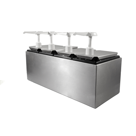 38504 - Condiment Topping Rail with 4 Standard Pumps & Jars  - Stainless Steel
