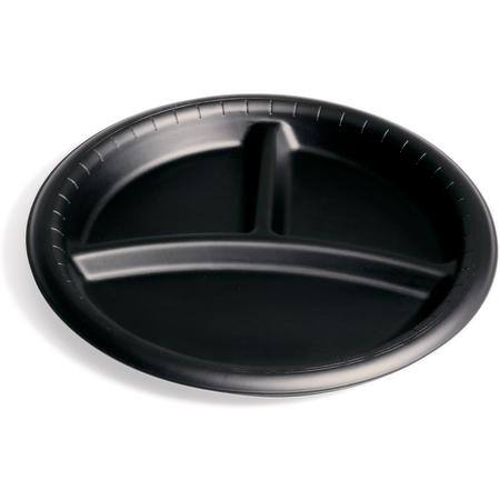 "DXHHPL93C03 - High Heat 3-Compartment Disposable Plate 9"" (500/cs) - Black"