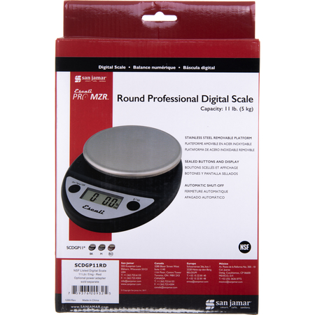 SCDGP11RD - NSF LISTED DIGITAL SCALE 11 LB / 5 KG-RD (OPTNL PW