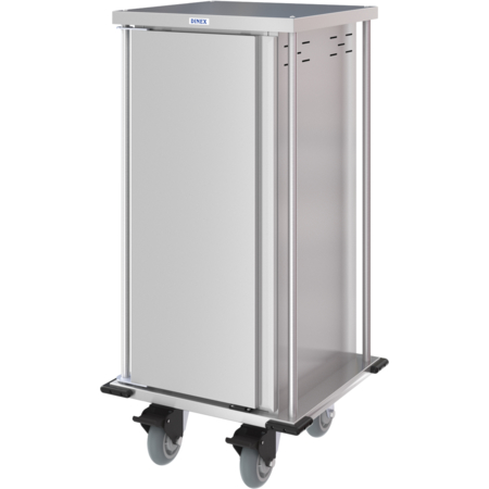 DXPTQC1T1D8 - Dinex® Totally Quiet Compact Meal Delivery Cart - Single Door - 1 Tray Per Slide 8 Trays (1ea) - Stainless Steel