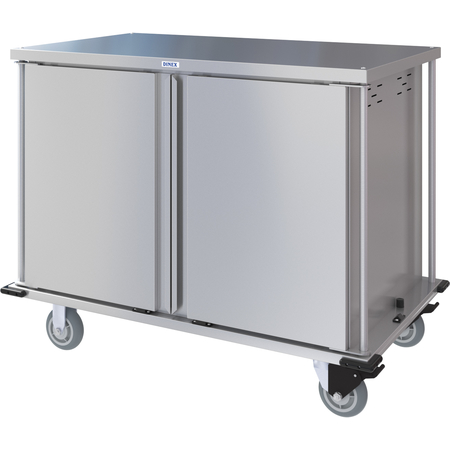 DXPTQC2T2D24 - Dinex® Totally Quiet Compact Meal Delivery Cart - Double Doors - 2 Trays Per Slide 24 Trays (1ea) - Stainless Steel