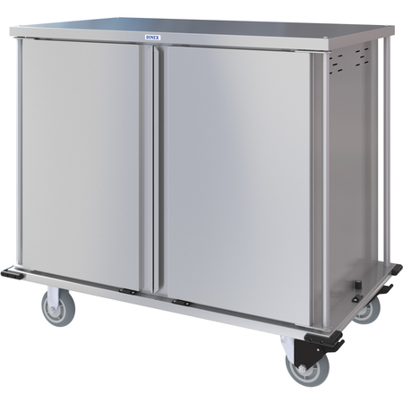 DXPTQC2T2D28 - Dinex® Totally Quiet Compact Meal Delivery Cart - Double Doors - 2 Trays Per Slide 28 Trays (1ea) - Stainless Steel
