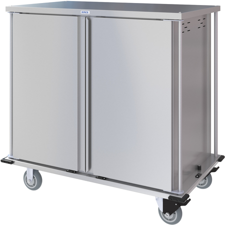 DXPTQC2T2D32 - Dinex® Totally Quiet Compact Meal Delivery Cart - Double Doors - 2 Trays Per Slide 32 Trays (1ea) - Stainless Steel