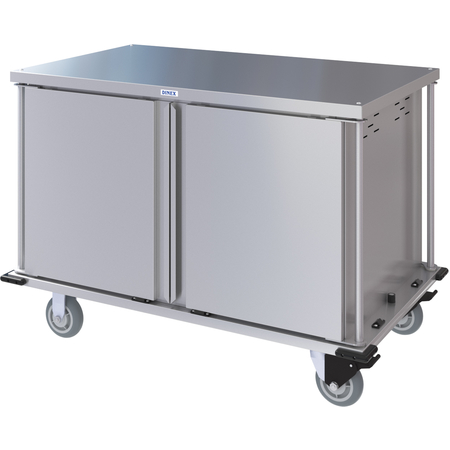 DXPTQC2T2DPT20 - Dinex® Totally Quiet Compact Meal Delivery Cart - Double Doors - 2 Trays Per Slide 20 Trays (1ea) - Stainless Steel