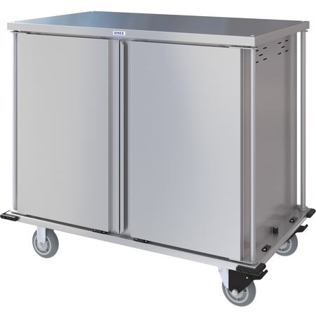 DXPTQC2T2DPT28 - Dinex® Totally Quiet Compact Meal Delivery Cart - Double Doors - 2 Trays Per Slide 28 Trays (1ea) - Stainless Steel