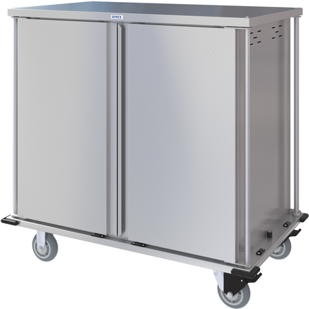 DXPTQC2T2DPT32 - Dinex® Totally Quiet Compact Meal Delivery Cart - Double Doors - 2 Trays Per Slide 32 Trays (1ea) - Stainless Steel