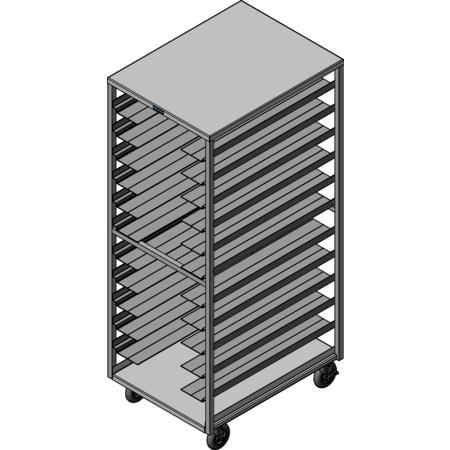 DXPDHOR24UP - Universal Tray Cart 24 Trays - Aluminum