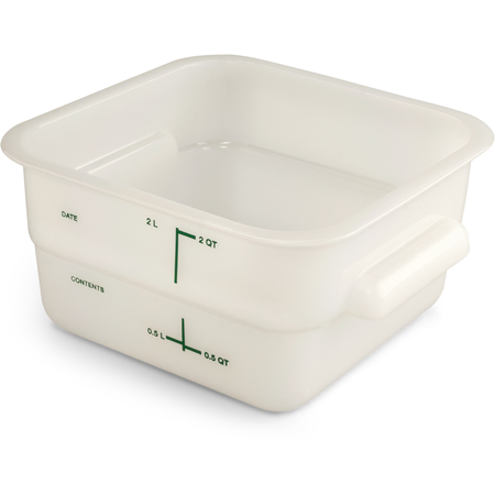 11960PE02 - Squares Polyethylene Food Storage Container 2 qt - White