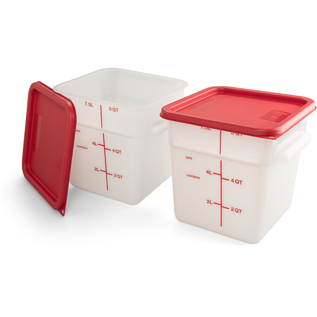 11963-202 - Squares Polyethylene Food Storage Containers & Lids - 2-Pack 8 qt - White