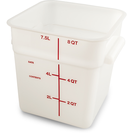 11963PE02 - Squares Polyethylene Food Storage Container 8 qt - White