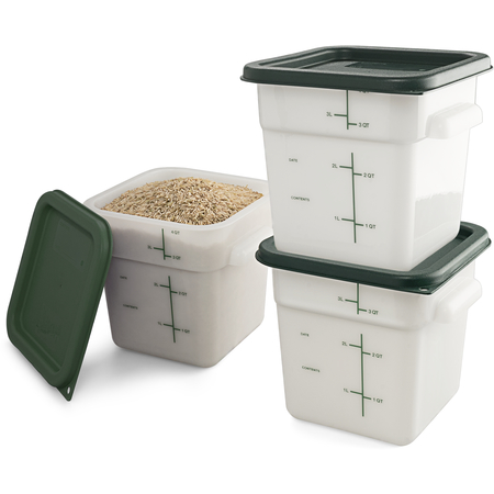 11961-302 - Squares Polyethylene Food Storage Containers & Lids - 3-Pack 4 qt - White