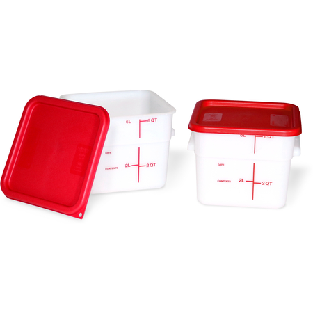 11962-202 - Squares Polyethylene Food Storage Containers & Lids - 2-Pack 6 qt - White