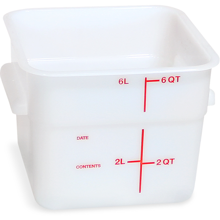 11962PE02 - Squares Polyethylene Food Storage Container 6 qt - White