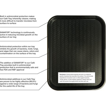 "CT1418030 - Cafe® Fast Food Cafeteria Tray 14"" x 18"" - Antimicrobial Black"